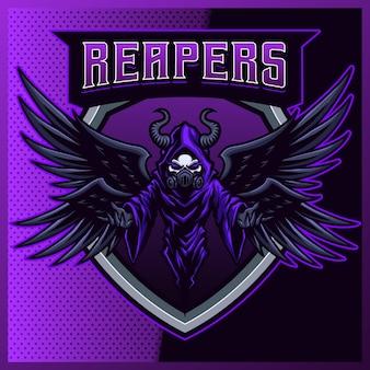 Hood reaper z maską gazową i logo maskotki sportowej z nowoczesną ilustracją. zła ilustracja