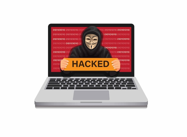 Hooodie man holding hacked sign on laptop monitor hacker in security system computer in cartoon