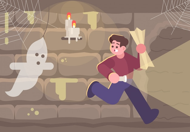 Horror escape room flat illustration.