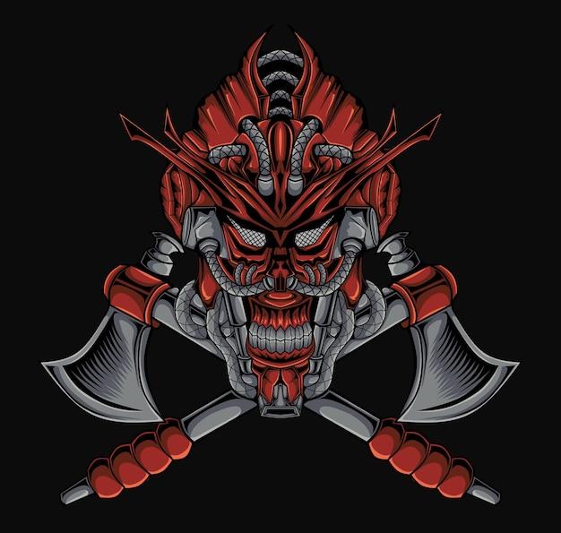 Horror mecha czaszka maska samuraja ilustracja