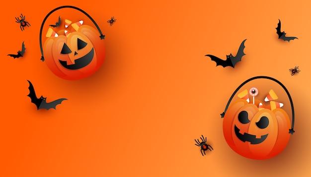 Horror na halloween. happy halloween tło szablon z pomarańczowym trick or treat dyni i kolorowe cukierki, nietoperze na pomarańczowym tle.