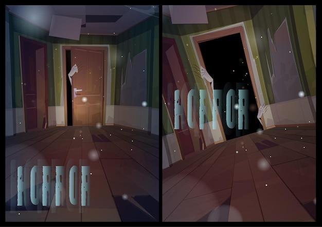 Horror plakaty z kreskówek potwór ręka zarys drzwi