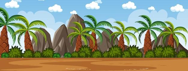 Horyzont natury scena lub krajobrazowa wieś z drzewkami palmowymi widokiem i tęczą w pustym niebie przy dniem