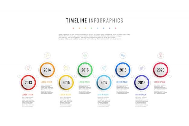 Horyzontalna oś czasu biznesu z 8 okrągłymi elementami, wskazaniem roku i polami tekstowymi na białym tle