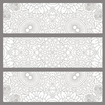 Horyzontalne doodle tła z etnicznym projektem
