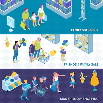 Horyzontalni isometric sztandary rodzinny zakupy z dzieciakami i przyjaciółmi odizolowywali wektorową ilustrację