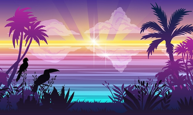 Horyzontalny krajobraz oceanu lato tropikalne rośliny drzewa tukan papuga