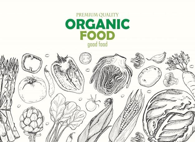 Horyzontalny tło z warzywami