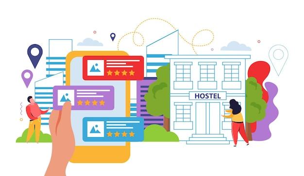 Hostel i turyści zaznaczają płaską ilustrację