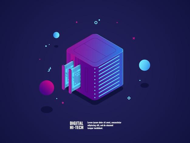 Hosting i ikona serwera wirtualnego, centrum danych i przechowywania danych w chmurze