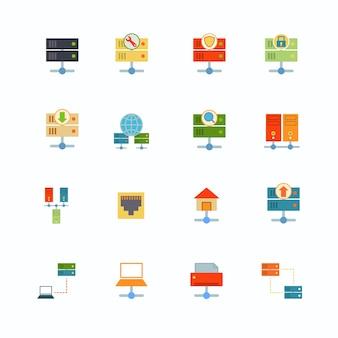 Hosting sieci komputerowej płaskie ikony zestaw z pliku dashboard elementów infrastruktury izolowane ilustracji wektorowych