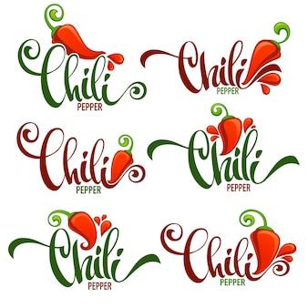 Hot chili pepper logo, ikony i herby, z ręcznie rysowane kompozycji napis
