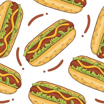 Hot dog fast food bezszwowy wzór w stylu płaskiej konstrukcji