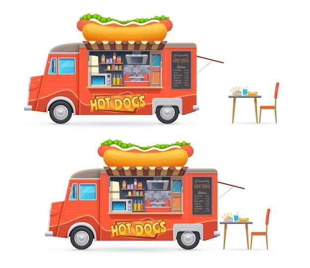 Hot dog food truck na białym tle van catering z menu tablica i sprzęt do gotowania hot dogów.