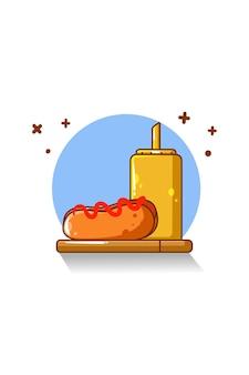 Hot-dog i gorący sos ilustracja kreskówka jedzenie