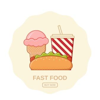Hot dog, lody i napoje gazowane. . ikony szybkiej obsługi. ustaw niezdrowy posiłek w stylu płaskiej linii. śmieci kolorowe elementy do gotowania. szablon zakupy online. zarys restauracji przekąski.
