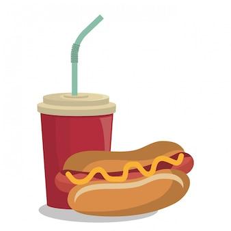 Hot dog projekt fast food na białym tle