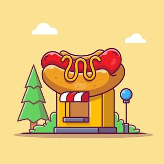 Hot dog shop ikona ilustracja kreskówka. koncepcja budynku ikona sklep spożywczy na białym tle. płaski styl kreskówki
