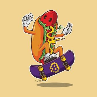 Hot dog skateboarding ilustracja kreskówka