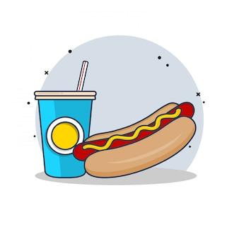 Hot dog with soda clipart ilustracji. koncepcja clipartów fast food na białym tle. płaski wektor stylu cartoon