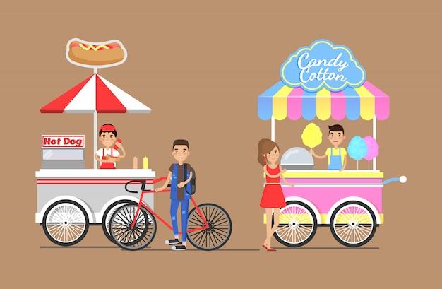 Hot dogi i wata cukrowa z zestawu wózków ulicznych