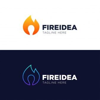 Hot idea logo szablon wektor, godło, koncepcja projektowa, twórczy symbol
