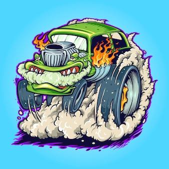 Hot road car monster vape ilustracje wektorowe do pracy logo, koszulka z towarem maskotka, naklejki i projekty etykiet, plakat, kartki okolicznościowe reklamujące firmę lub marki.