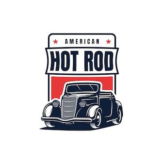 Hot rod classic car logo, vintage ilustracji wektorowych