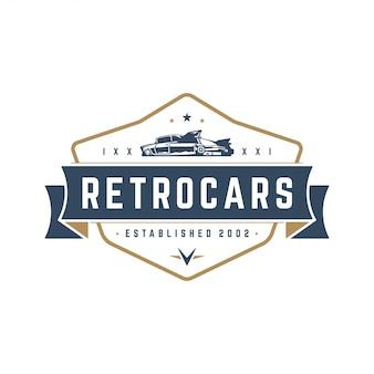 Hot rod samochód logo szablon element stylu vintage