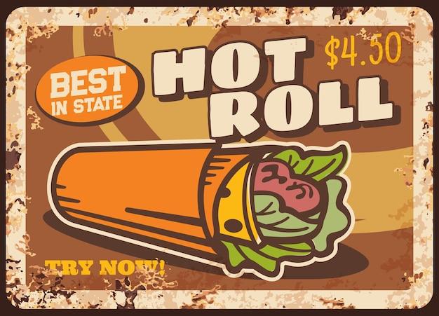Hot roll zardzewiały metalowy talerz, kebab doner z surówką i mięsem