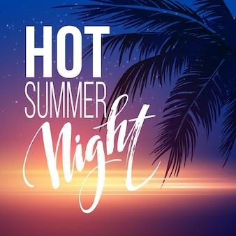 Hot summer night party plakat z elementami typograficznymi na tle plaży morskiej.