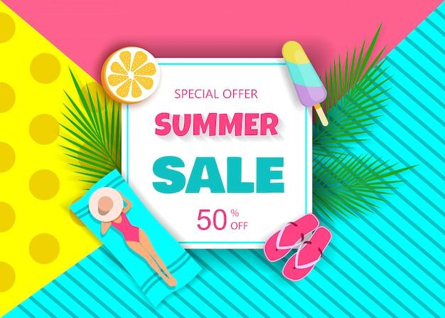 Hot summer saler. owoce tropikalne. ilustracja do celów reklamowych