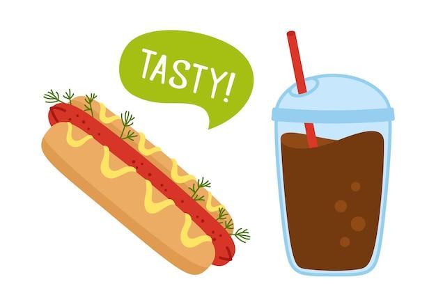 Hotdog american fast food i kawa na wynos zestaw do rysowania doodle