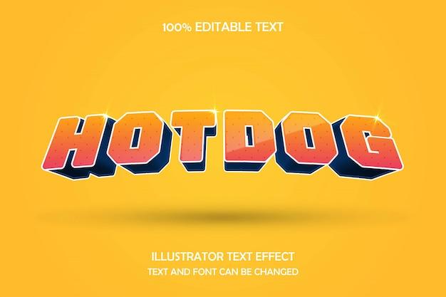Hotdog, edytowalny tekst efekt nowoczesnego komiksu