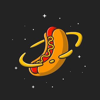 Hotdog planet. płaski styl kreskówki