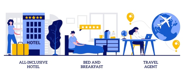 Hotel all inclusive, nocleg i śniadanie, koncepcja biura podróży z małymi ludźmi. luksusowa gościnność resort streszczenie wektor zestaw ilustracji. pakiet wakacyjny, wszystko wliczone w metaforę usługi.