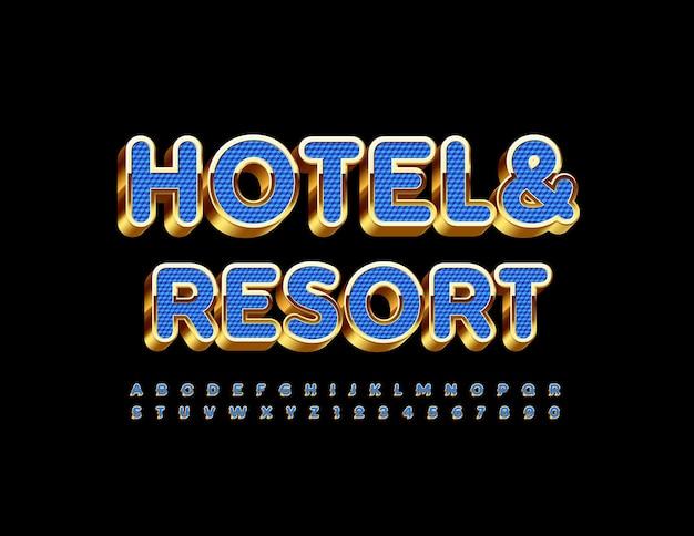 Hotel and resort niebieski i złoty alfabet litery i cyfry luksusowa czcionka 3d