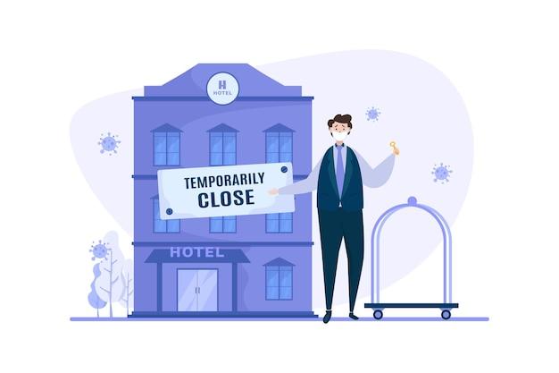 Hotel biznesowy tymczasowo zamknięty podczas ilustracji pandemii