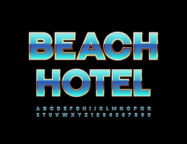 Hotel na plaży z zestawem liter i cyfr alfabetu w kolorze niebieskim i złotym czcionka w eleganckim stylu