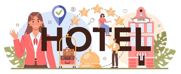 Hotel typograficzny nagłówek podróże i planowanie turystyki rezerwacja apartamentu