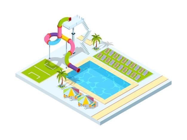 Hotel z basenem. izometryczne ilustracje izometryczne parku zjeżdżalni wodnych w ośrodku rekreacyjnym