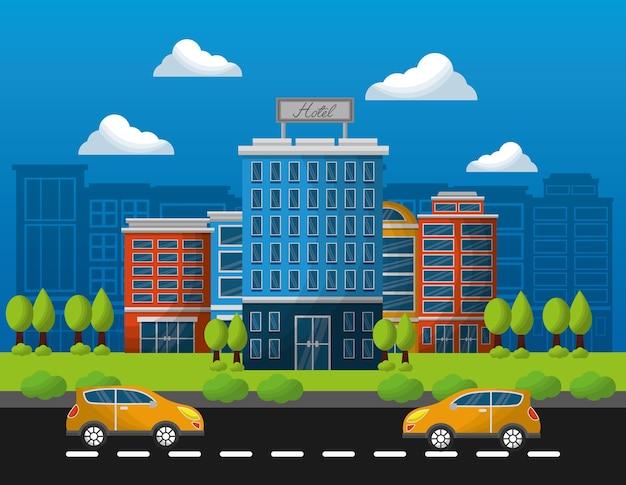 Hotelowi budynki taxi w ulicznej wektorowej ilustraci