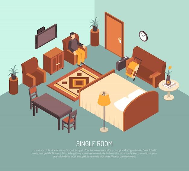 Hotelowy izometryczny plakat w pokoju jednoosobowym