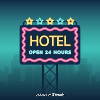 Hotelowy neonowy znaka tło