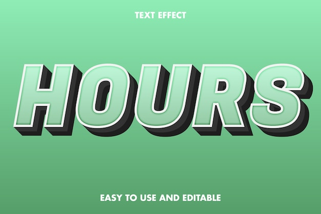 Hours text effect łatwy w użyciu i edytowalny
