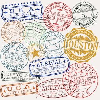 Houston texas zestaw pieczątek podróży i firm
