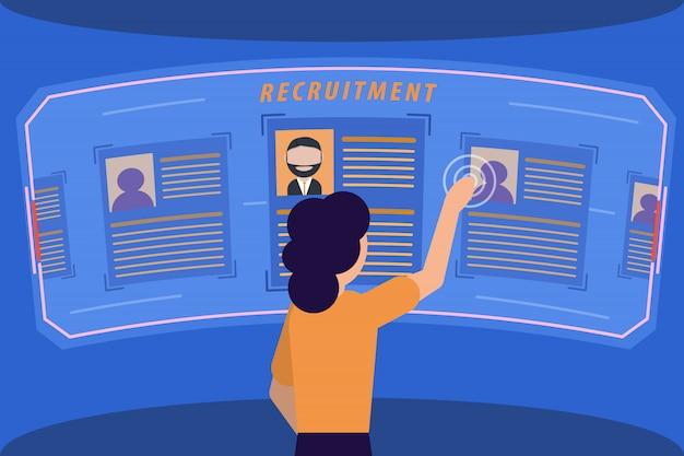 Hr manager poszukaj pracownika. profil kandydata na ekranie holograficznym. nowoczesna rekrutacja. ilustracji