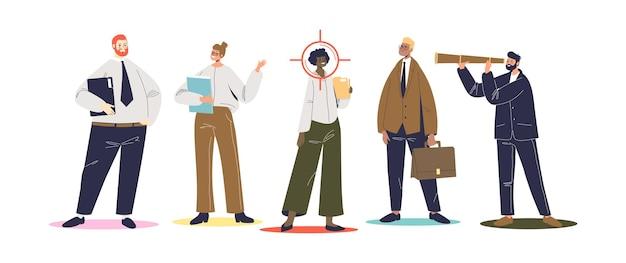 Hr selekcji pracownika na wolne stanowisko z grupy kandydatów. zasoby ludzkie i koncepcja rekrutacji. biznesmen zatrudniania nowych pracowników. płaska ilustracja wektorowa