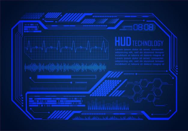 Hud cyber obwodu technologii przyszłości tło koncepcja, monitor pulsu ekg