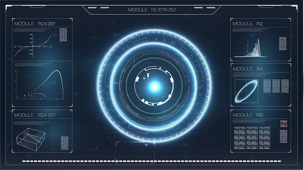 Hud. cyfrowy ekran radaru. innowacyjna technologia hud. nowoczesny monitor z płaskim ekranem